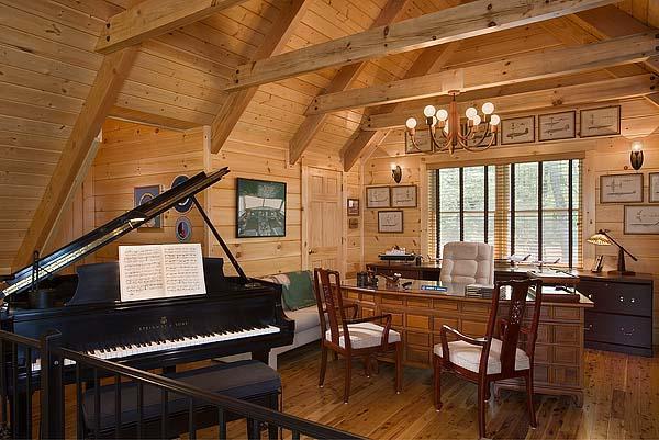 Log bedroom with loft