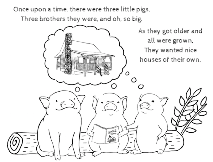 Three Little Pigs Log Home Coloring Book for Children